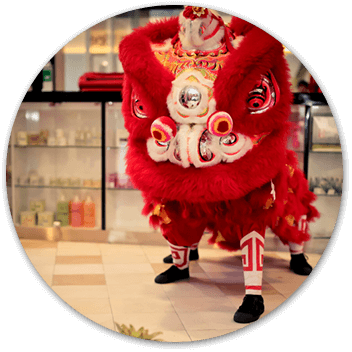 Shakura Singapor dark red lion dance